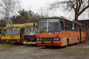 """""""Bizon"""" - Ikarus 280 #RV50, """"Mig"""" Jelcz M11 #BV05 oraz Jelcz PR110U #BV07."""